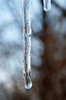 An icicle full of trapped air bubbles