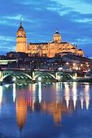 River Tormes, bridge and Cathedral, Salamanca. Castile-Leon, Spain.