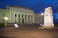 Auckland City North Island New Zealand  Neo-classical style National Museum World War I memorial building exterior and cenotaph Court of Honour floodl...