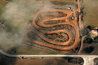 Motocross track, aerial view, Berga, Barcelona province, Catalonia, Spain.