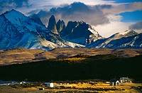 Torres del Paine and Almirante mountain  Torres del Paine National Park  UNESCO World Biosphere Reserve, Patagonia, Chile, South America