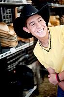 Teenage Boy Smiling Wearing a Cowboy Hat at Dixie Classic Fair, Winston Salem, NC