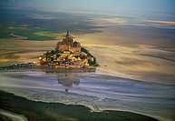 Mont Saint Michel, view with convent, built: 1017-1520, exterior view, Europe, Normandy, Benedictine abbey, monastery, World Heritage Site, consecrate...
