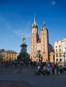 Krakow landmarks - Basilica of Virgin Mary on Main Market Square and Adam Mickiewicz Monument