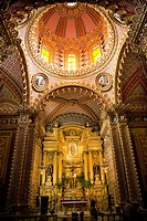 Ornate Guadalupita Church Interior Altar Cross and Dome Morelia, Mexico
