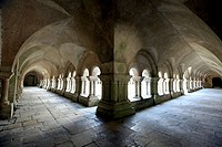 the cloisters surrounding the courtyard of the monastery of the cistercian Abbey of Fontenay, Burgundy, France