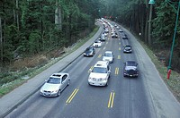 Traffic on Stanley Park Causeway, Vancouver, British Columbia, Canada.