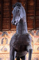 Wooden horse in Palazzo della Ragione in Padua, Veneto, Italy