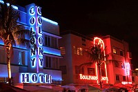 Ocean Drive in the evening, South Beach, Miami Beach, Florida, USA