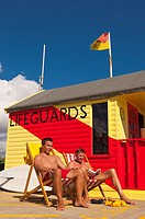 The lifeguards on the seafront in Southwold , Suffolk , England , Britain , Uk