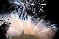 Fireworks during the cabalgata de los Reyes Magos (Cavalcade of Magi) held on January 5. Paseo de la Castellana, Plaza de Cibeles, Madrid, Spain.