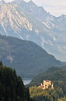 Germany, Bavaria, Schwangau, castle of Hohenschwangau was the property of King Maximilian II of Bavaria in 1832, this house was the summer residence o...
