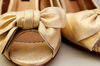 Golden wedding shoes