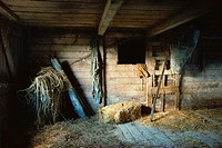 Still-life of old barn interior