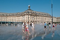 Fog effect at The Water mirror in front of the Stock Exchange Square, Bordeaux, France