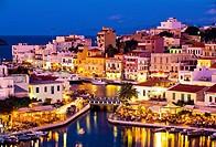 The Voulismeni lake linked to the sea by a canal, Agios Nikolaos, Crete,Greece.