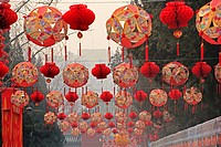 Lucky Red Lanterns Chinese New Year Decorations Ditan Park Beijing China  During Lunar New Year, many parks and temples in China have large outdoor fa...