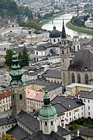 Old view of city from castle including cathedral and Salzach River, Salzburg, Austria