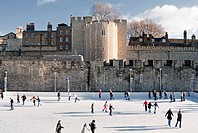 Temporary Ice Rink constructed for the Christmas period at the Tower of London, London England