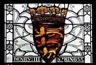 Stained glass window depicting coat of arms of King Henry III in The Great Hall, Winchester, Hampshire, England, United Kingdom