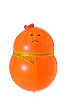 obese balloon dieting on white background