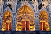Night view  Ornate doorway of the Cathedral of Notre Dame, from XIII Century, in Amiens listed as World Heritage by UNESCO  It´s the Highest ghotic ca...