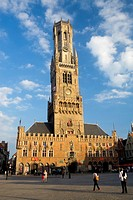 Belfry Tower in Market Square, in the medieval town of Brugge, listed World Heritage Site by UNESCO  Flanders  Belgium