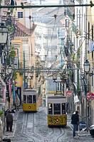 Bica cable car in Bairro Alto in the morning, Lisbon  Portugal