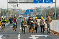 Workers, Olympic Green, Beijing, China, Asia