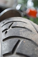 An angled close up of a motorcycle tire