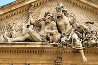 Pediment ancient Grain Market hall with statues representing Rhone and Durance rivers and pigeons Old Aix Aix en Provence 13 France