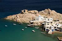 The village of Firopotamos, Island of Milos, Cyclades, Greece