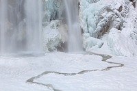 The Krimml waterfalls in the National Park Hohe Tauern during winter in ice and snow  The lower Fall The Krimml waterfalls are one of the biggest tour...