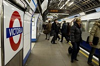 Victoria tube station is the busiest underground station on London´s tube network serving 77 million passengers a year Victoria line train  Photograph...