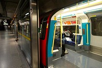 The new Jubilee line stations have protective barriers to prevent suicides  London underground, UK   London Underground Tube filmed under film permit ...