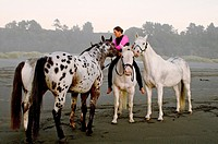Woman riding horse bareback on beach with other horses. US Pacific coastline. California.