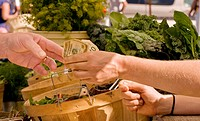 Paying for produce at farmers´ market, downtown Arcata, California