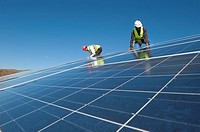 Construction of solar panels for production of renewable electrical energy in the site of ´Puits Castan´ old mine, Villaniere Aude Languedoc-Roussillo...