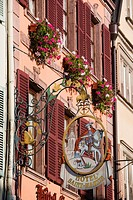 France, Haut-Rhin, Alsace Region, Alasatian Wine Route, Colmar, town detail