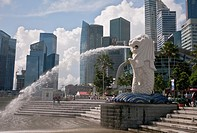 Merlion Park, the Lion with Water coming out of this mouth  Singapore