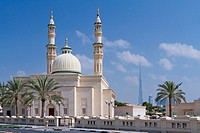 A mosque with minarets in the Jumeirah district of Dubai, UAE