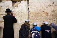 Jews praying, Western Wall, Wailing Wall, Old city, Jerusalem, Israel, Middle East.