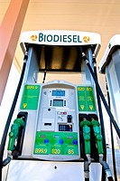 Biodiesel fuel pumps: B99 9, B20, B5 at retail fuel station, Minden Nevada