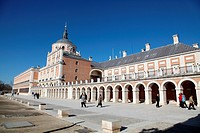 Panoramic side view of the Palacio Real de Aranjuez, Madrid, Spain