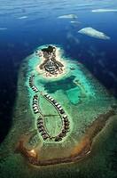 Indian Ocean, Maldives, resort aerial view.