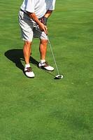 Senior man playing golf, South Tenerife, Canary Islands, Spain