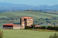 France, Auvergne, Puy de Dome, Livradois Forez, Col des Supeyres, around Egliseneuves les Liards, big farm.
