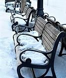 Snowy park benches in Boston, Massachusetts, USA