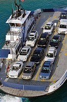 Car Ferry transports automobiles from Fisher Island to Miami Florida