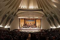 Interior of the Auditorium concert hall of Santa Cruz de Tenerife, designed by architect Santiago Calatrava  Performance of the symphony orchestra and...
